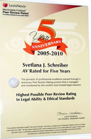 Svetlana Schreiber Esq. Immigration Attorney AV rated 5 years